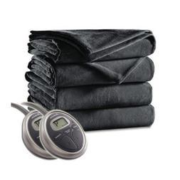 Sunbeam Velvet Plush Electric Heated Blanket King Size Slate