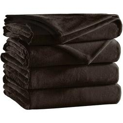 Sunbeam Velvet Plush Electric Heated Throw Blanket Walnut Br